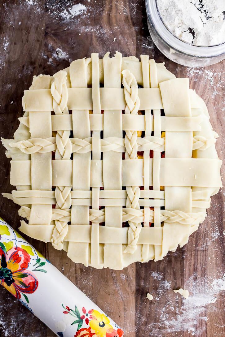 Braided lattice crust tutorial | Cherry Berry Peach Pie | Flour Covered Apron