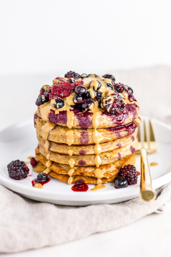 PB&J Banana Oat Pancakes | Flour Covered Apron | Vegan, gluten free, and refined sugar free