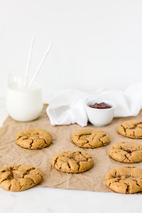 Flourless Peanut Butter and Jelly Cookies | Flour Covered Apron