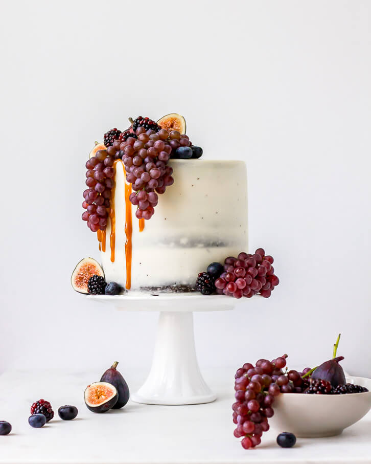 Salted Caramel and Dark Chocolate Birthday Cake with Figs, Blackberries, Blueberries, and Champagne Grapes | Flour Covered Apron