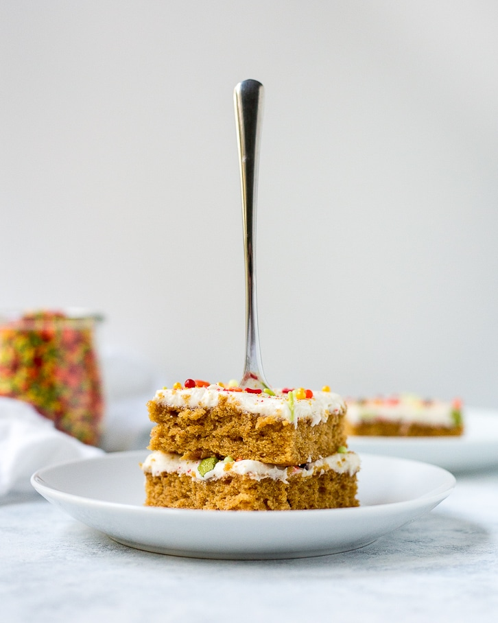 Two slices of Sweet Potato Sheet Cake with Cream Cheese Frosting