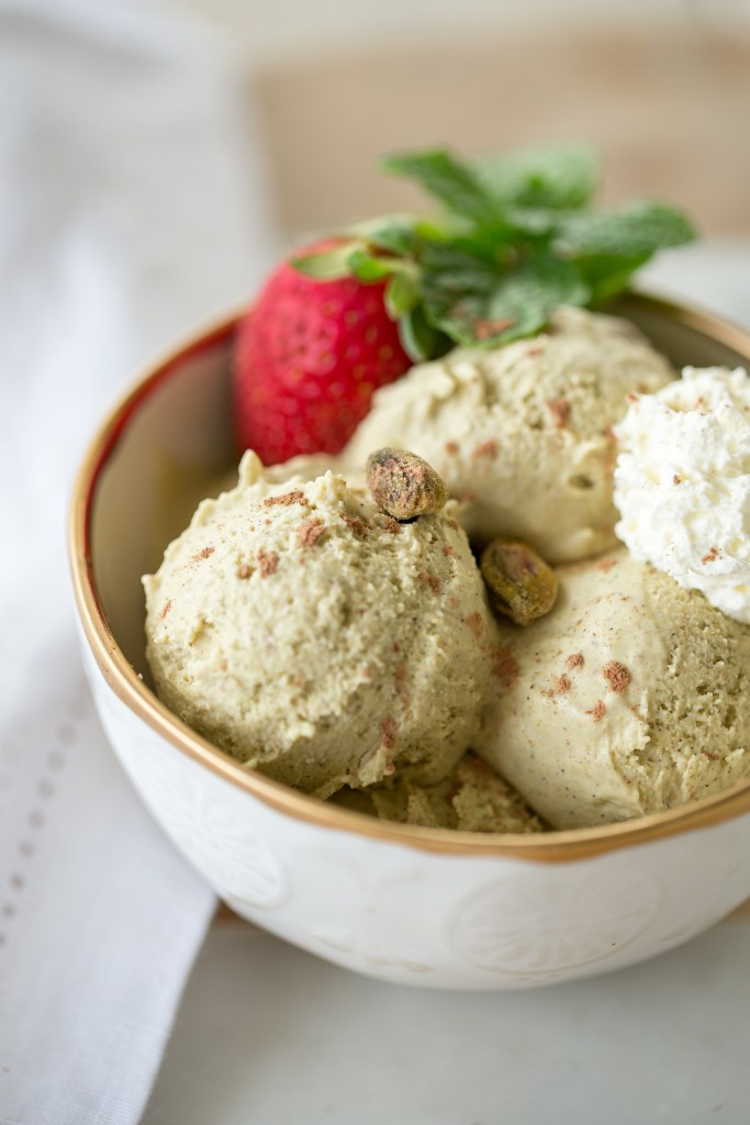 Dairy Free Pistachio Vanilla Bean Ice Cream by Colorful Eats
