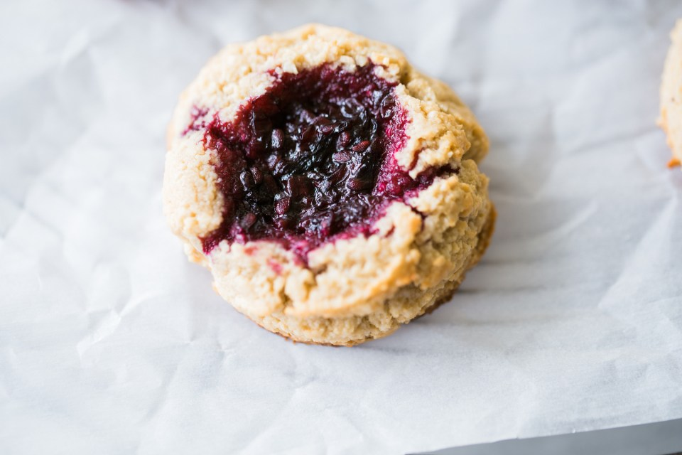 Grain Free Gluten Free Blackberry Jam Thumbprint Cookies Flourish