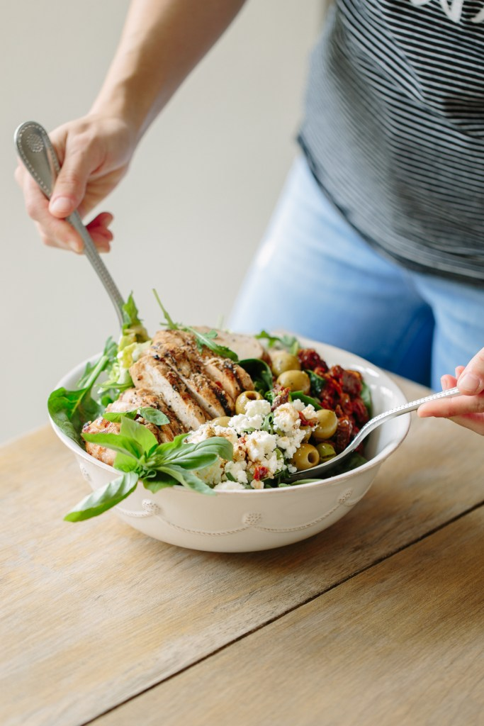 Mediterranean Grilled Chicken Chop Salad by Colorful Eats