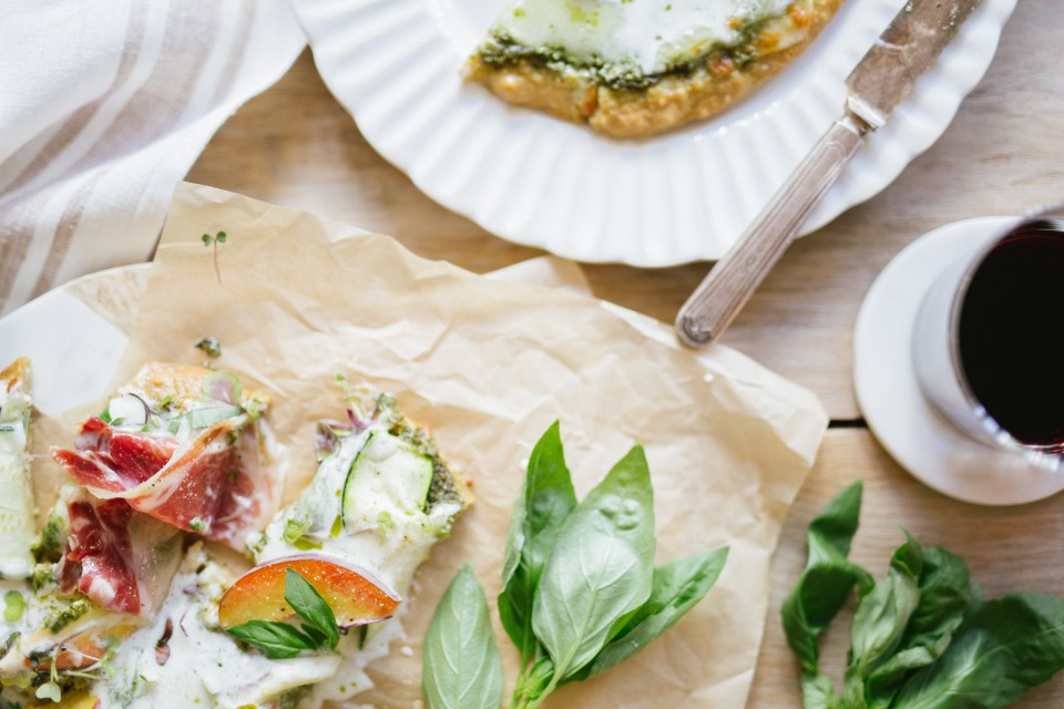 Gluten Free, Grain Free Pesto Peach & Burrata Pizza by Colorful Eats