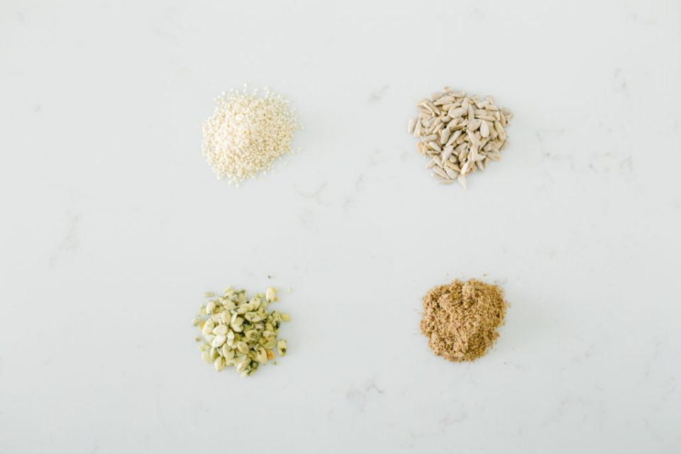 Different types of seeds to eat when seed cycling for hormones.