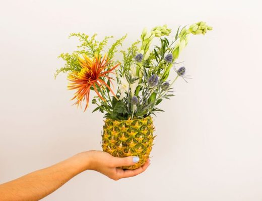 pineapple tropical fruit and flowers