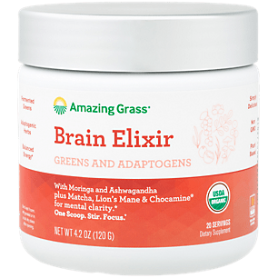 Organic Brain Elixir - Greens & Adaptogens with Moringa, Ashwagandha + Matcha, Lion's Mane & Chocamine (20 Servings)