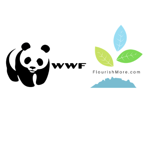 world wildlife fund and flourishmore logos