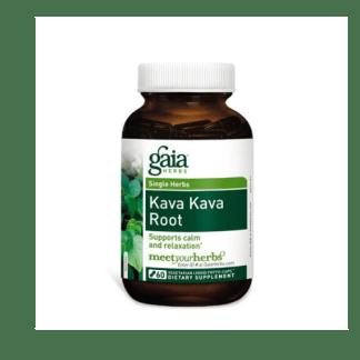 gaia herbs kava kava root capsules bottle