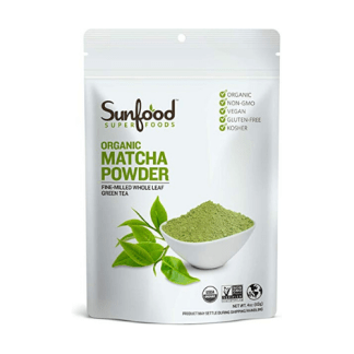 sunfood organic matcha green tea powder pouch