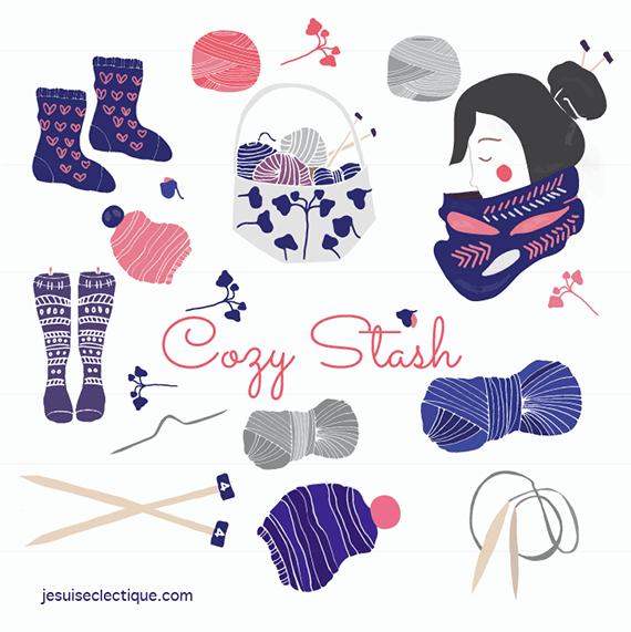 Cozy Stash a knitting clip art set
