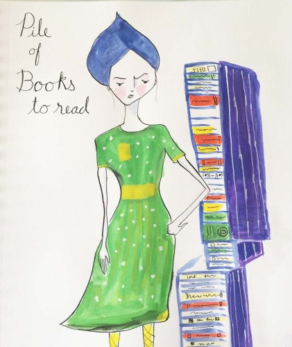 Pile of books illustration