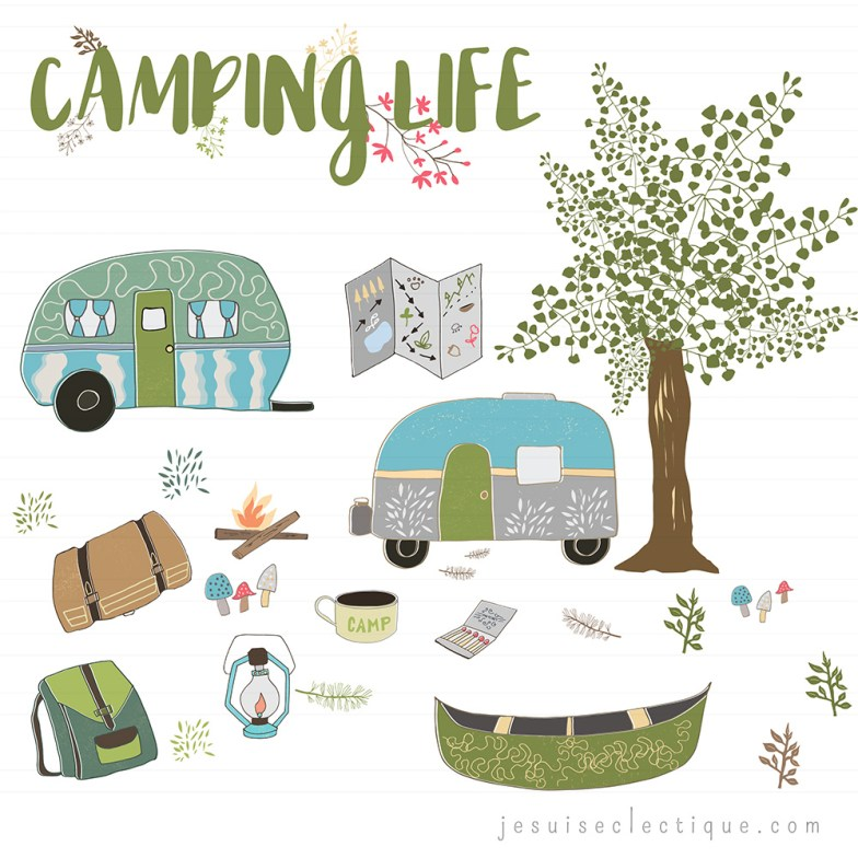 Camping illustrations