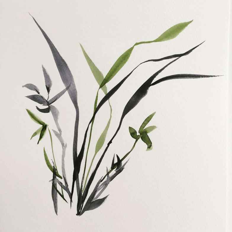 Japanese Watercolor Botanical by Flowarte