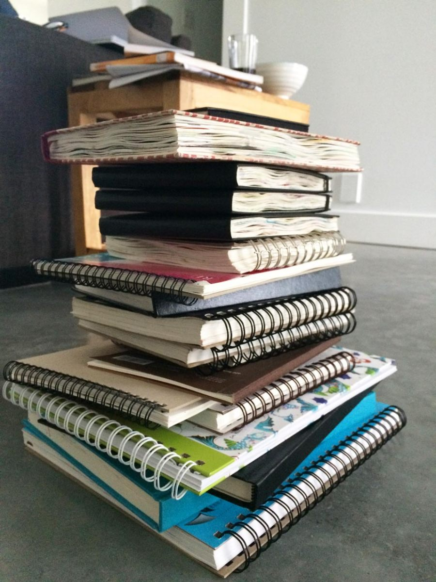 Mountain of sketchbooks