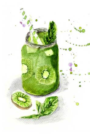 Green smoothie watercolor by FlowArte