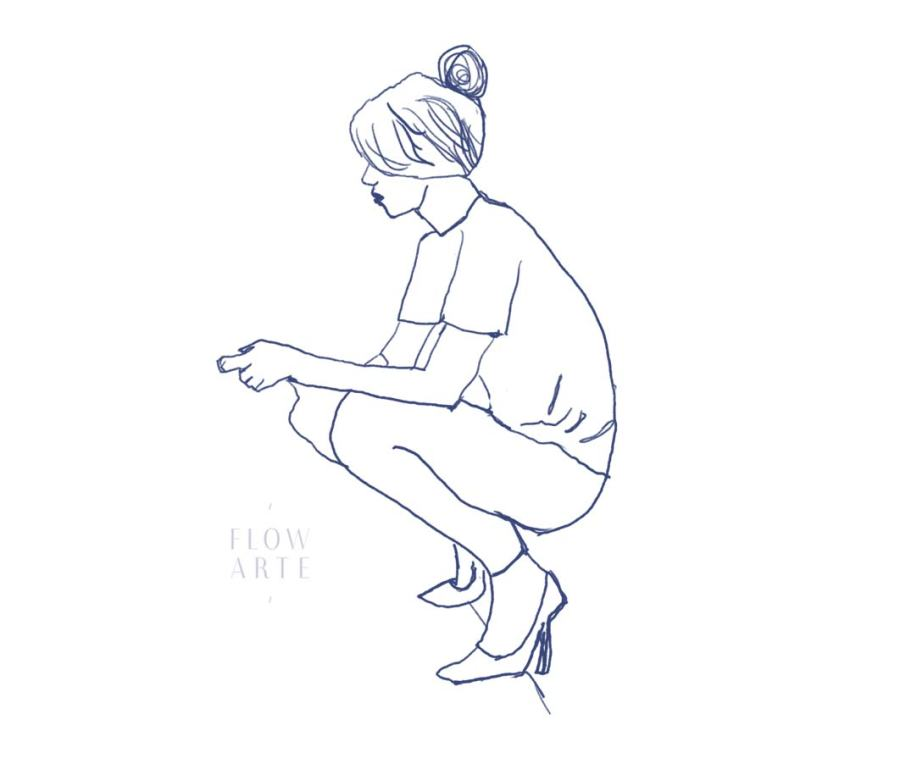 Girl checking her phone sketch