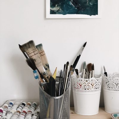 Art Supplies on wooden surface