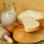 still life - bread, milk, flour, eggs