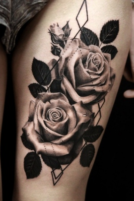 Roses Tattoo Black And White : roses, tattoo, black, white, Black, Tattoo, Designs, Meaning, Ideas, Girls,, Women