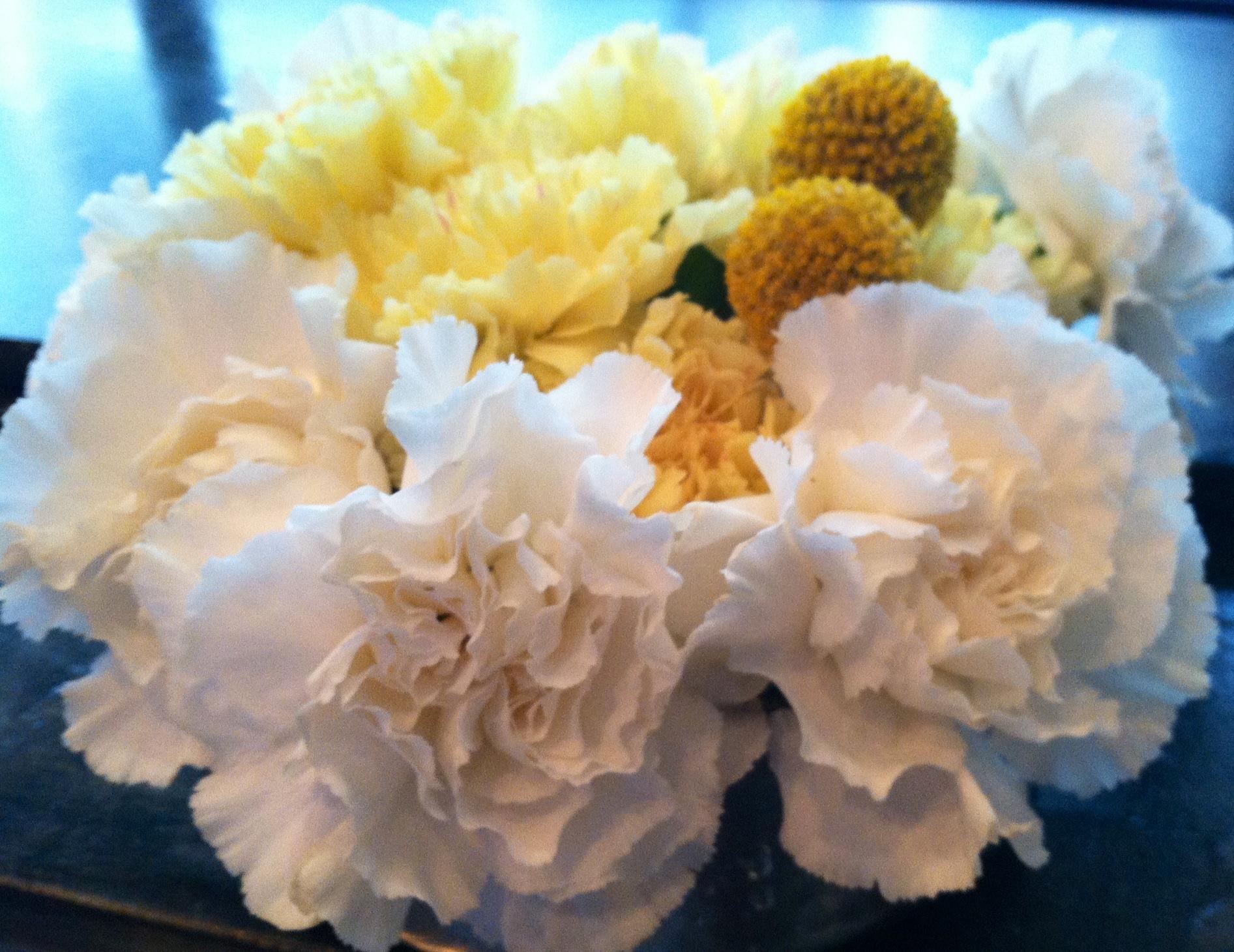 white and yellow carnations in floral arrangement  Flowerbaar