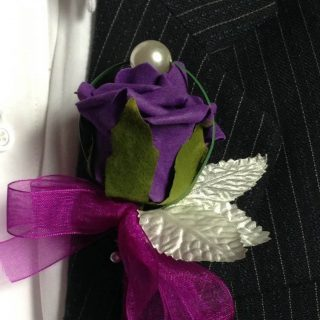 Purple Rose with Pearl Silver Leaves