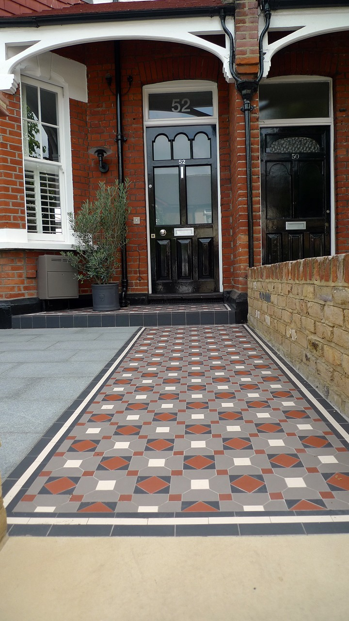 Victorian mosaic tile path granite paving York stone bespoke bike store granite paving metal