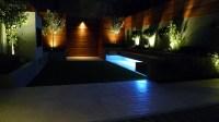 modern garden design and landscaping night time lighting ...