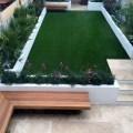 Urban low maintenance garden raised render block beds artificial fake