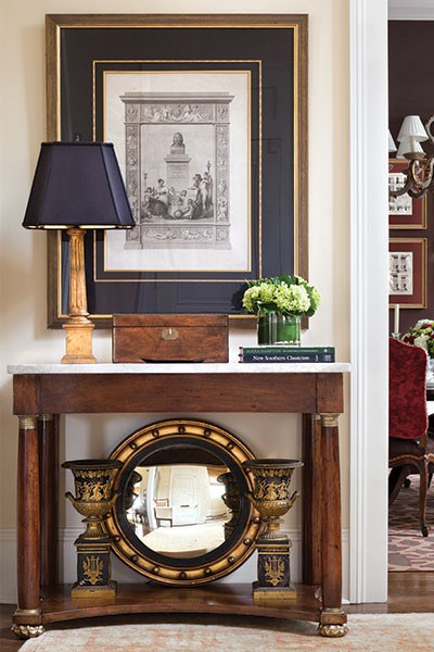 Hampton's love of classicism is evident in this entry way composition. | Photo by Steve Freihon