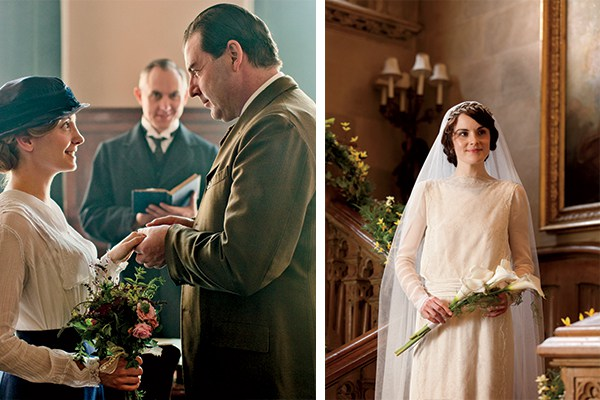Of course, flowers played a part in on-screen weddings, both upstairs Lady Mary to Matthew Crawley, and downstairs, a hurried civil ceremony for Anna and Mr. Bates. Photo © NICK BRIGGS/CARNIVAL FILM & TELEVISION LIMITED FOR MASTERPIECE