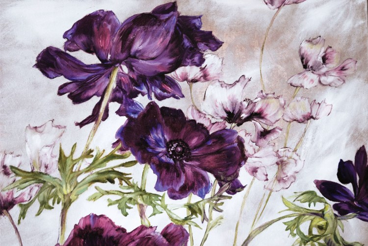 Claire Basler painting of anemones and irises