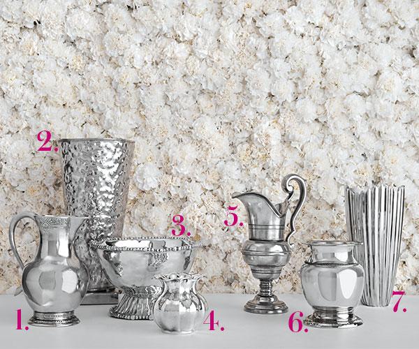 metallic silver vases