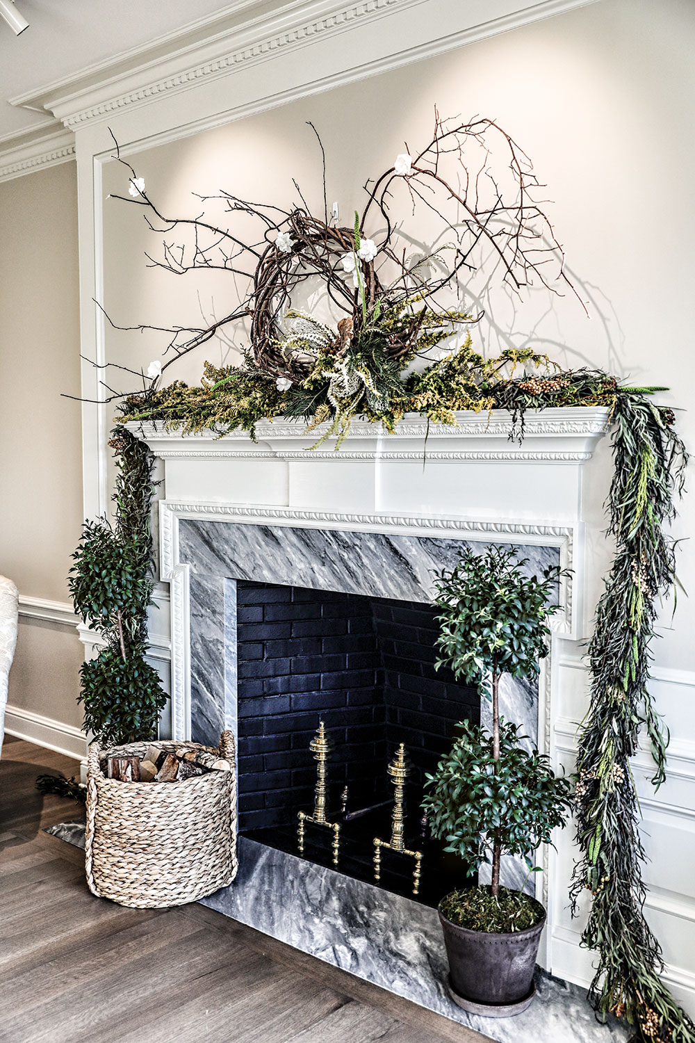simon pearce christmas party, fireplace garland