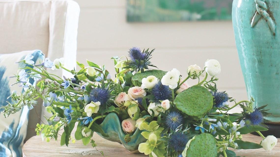 myrtie blue flowers, beach florists