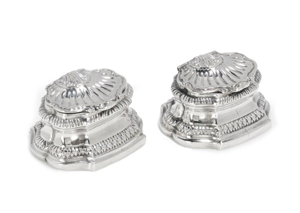 silver salt cellars, antique salt cellars
