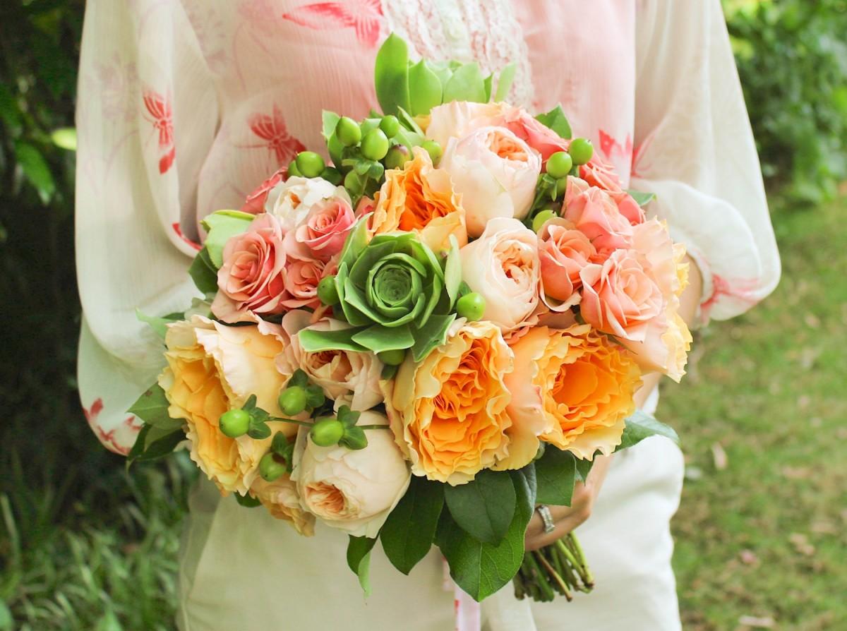 Superieur Garden Rose Bouquet, Peach And Green Wedding Bouquet