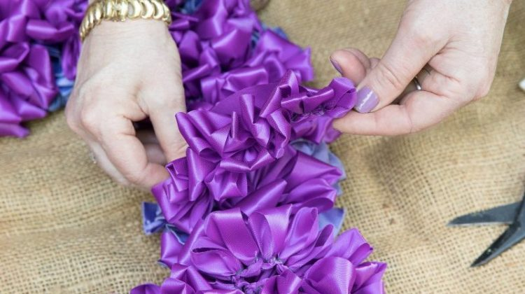 ruched ribbon galrand, Laura Dowling wreaths