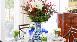 entertaining essentials, amaryllis arrangement