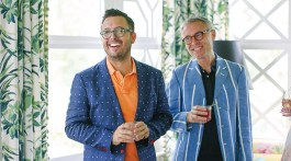 Jason Oliver Nixon (left) and John Loecke, the duo behind the design and lifestyle brand Madcap Cottage, share a love for exuberant pattern, rich color, flowers of all sorts, and rescue dogs. All flourish happily in the 1930s-era home they call The House of Bedlam.