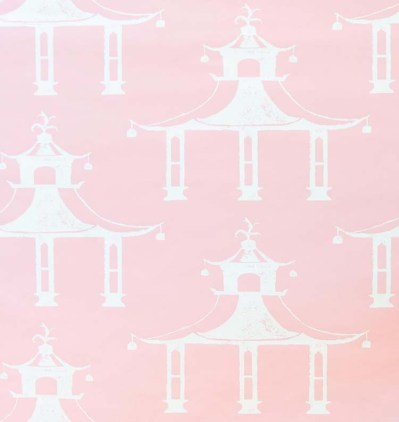White pagoda motifs on a pale pink fabric background