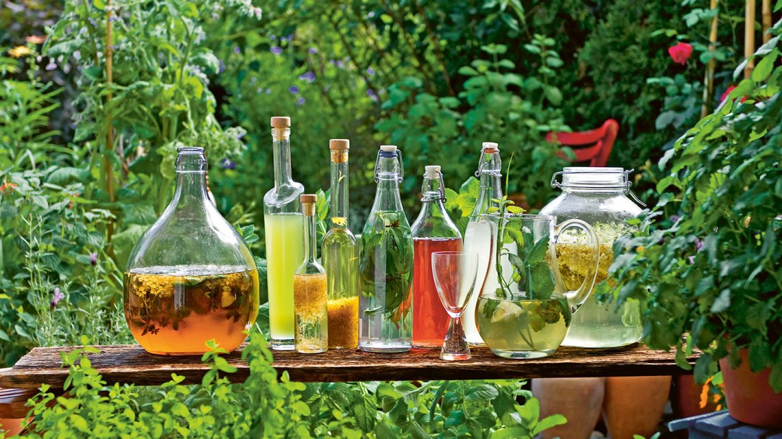 An enticing array of David Hurst's nonalcoholic concoctions, displayed in the garden.