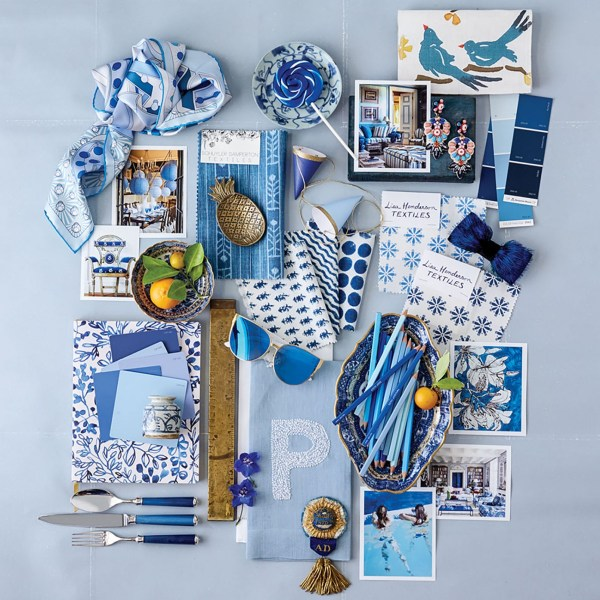 A collage of blue-and-white items for the home