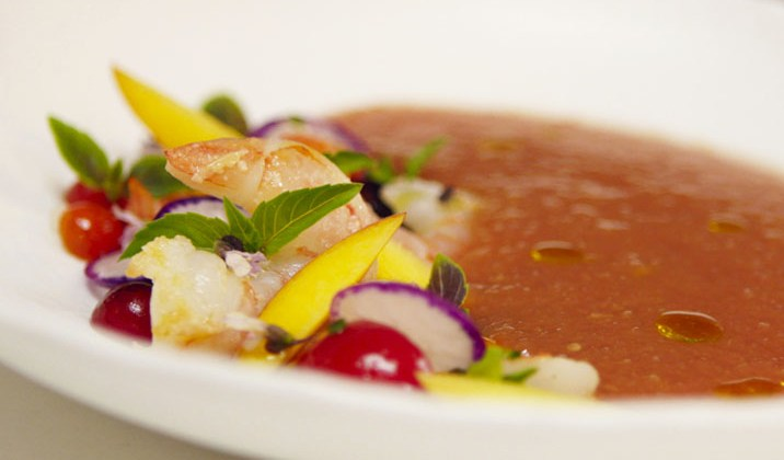 Summer Peach Gazpacho with Shrimp Salad