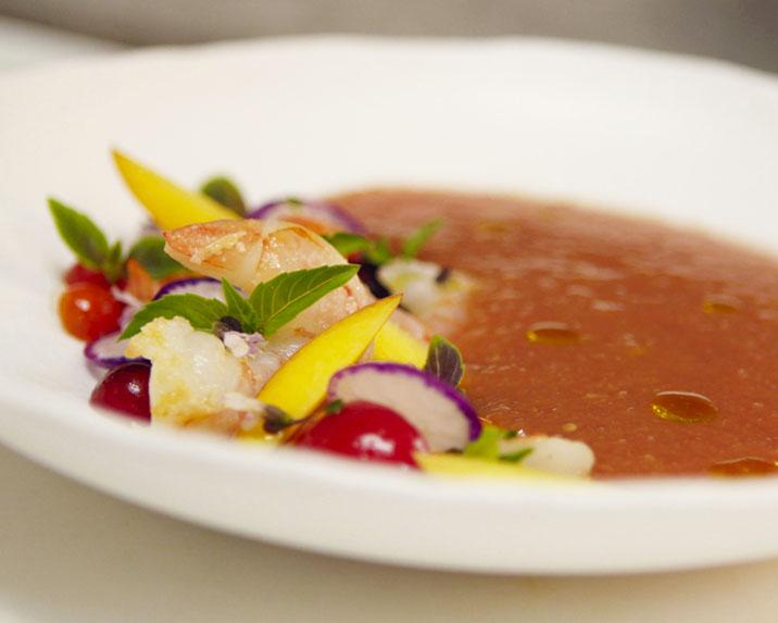Summer Peach Gazpacho with Shrimp Salad