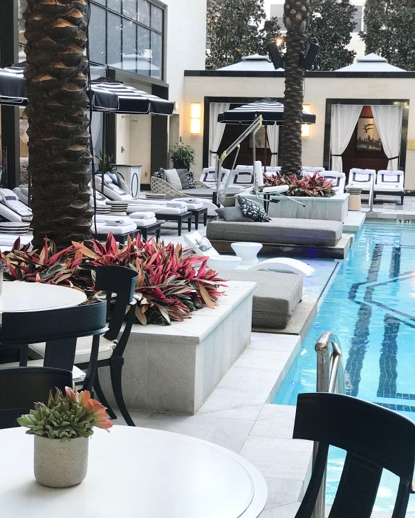The pool area at the Post Oak Hotel