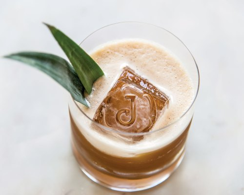 The Jasper's craft cocktails feature large ice-cubes bearing the bar's J insignia