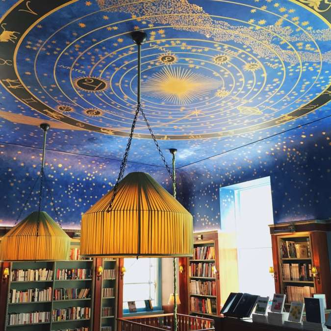 Painted ceiling at Albertine, New York City Book Shop