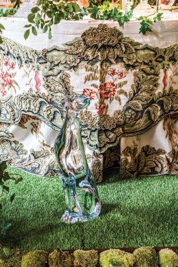 Maison Lesage table linen, crystal dog